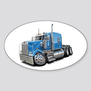 Kenworth W900 Lt Blue Truck Sticker (Oval)